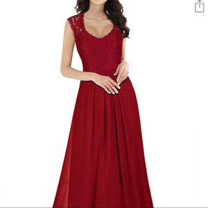 Red floor length gown with lace💮